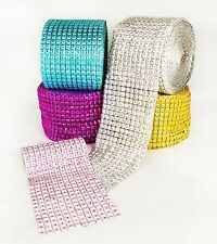 "3.75"" 1-10 Yards Diamond Square Mesh Wrap Roll Crystal Rhinestone Sparkle Ribbon"