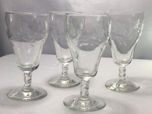 """4 Fine Thé/eau cristal gravé rose tige optique en verre torsadé Tige 6 1/4"""" T"""