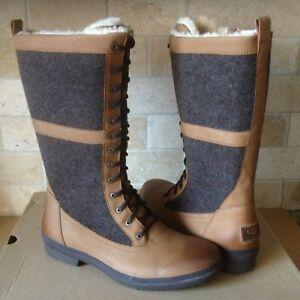 83f798715f0 Details about UGG ELVIA TALL CHESTNUT WATERPROOF LEATHER RAIN SNOW BOOTS  SIZE US 7.5 WOMENS