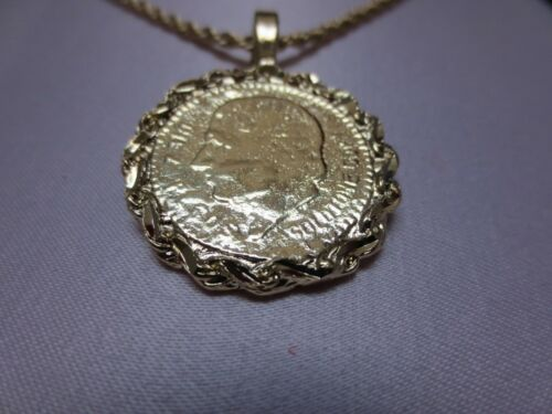 14 KT GOLD EP TWO SIDED MEXICAN COIN CHARM PENDANT WITH A 2.5MM ROPE SET-2200