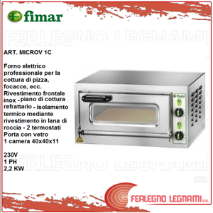 Oven-Electric-for-Pizzeria-2-2KW-2-Thermostats-Monof-40X40X11-Fimar-Microv-1C