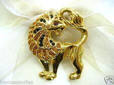 18k Gold Plate Lion Swarovski Element Austrian Crystal Rhinestone Brooch Pin