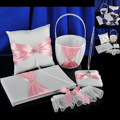 White Wedding Guest Book Pen Set Coloured Bow Ring Pillow Flower Basket Garter