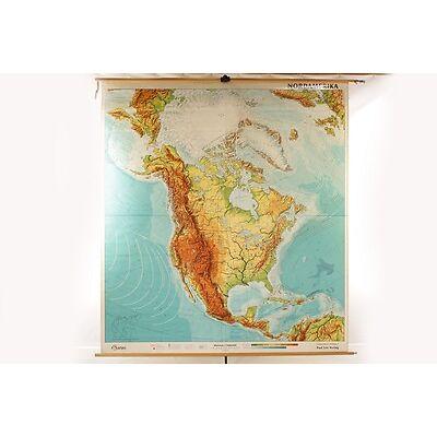 Lehrtafel Schulwandkarte Nordamerika physisch Wandkarte Rollkarte Unterricht