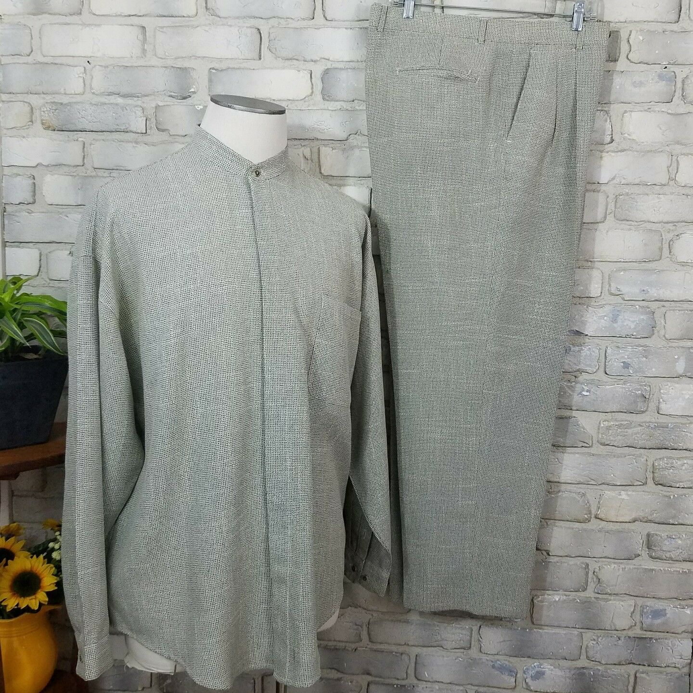 Westfield Classic Mens Suit Casual Long Sleeve Shirt Dress Pants Size 40 Beige