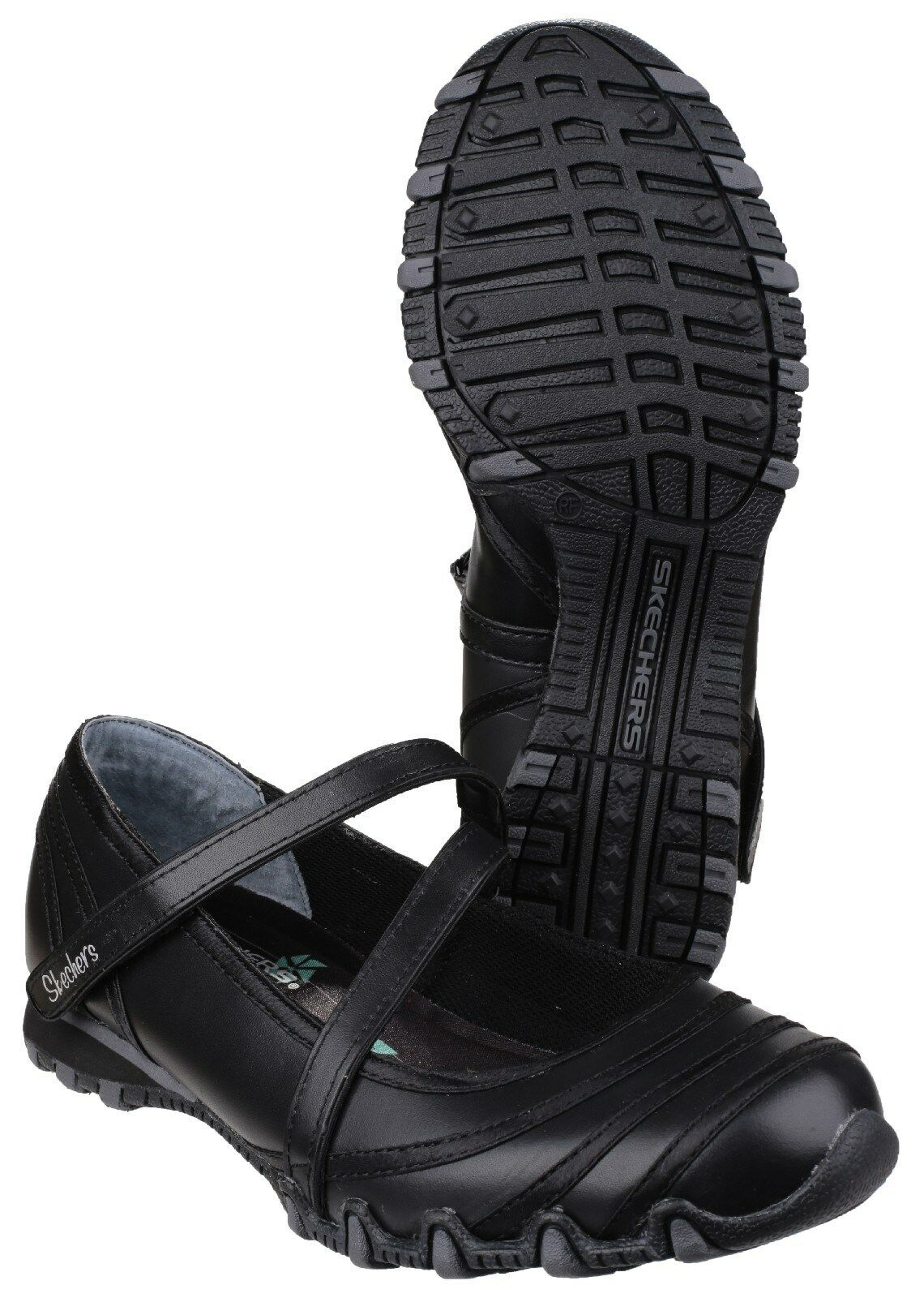 Skechers Bikers SATIN SHINE Mary Jane BALLERINA LINEA DONNA SCARPE NERO POMPE UK3-8