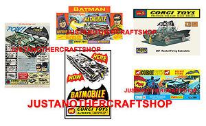 Batimovil-Corgi-Toys-267-Batman-Conjunto-de-5-Vintage-carteles-folletos-anuncios-signos