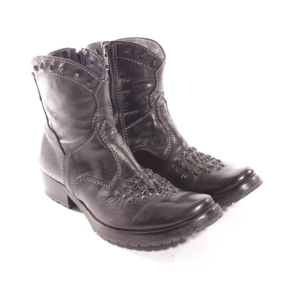 Prima base botines gr. d 38,5 negro zapatos señora botas de cuero Shoes