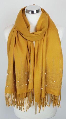 Gorgeous Softest feel Crystal /& Pearl Mustard Tassel Women Ladies Wrap Scarf