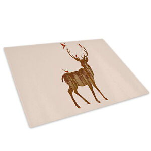 Stag Deer Forest Green Glass Chopping Board Kitchen Worktop Saver Protector