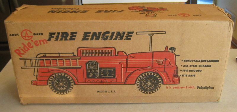 Vintage 60's Andy Gard Ride'em Fire Engine Box Only Add Value To Loose Toy