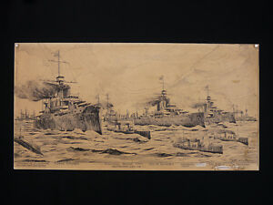 Frans-Van-Riel-1879-1951-Battle-of-Riachuelo-Rare-Drawing-Argentina-Military