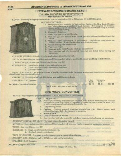 1932 PAPER AD 6 PG Stewart Warner Radio Sets Console Midget Apartment Size