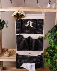6-Pocket Handmade Black Hanging bath Organizer Beauty Home Wall Door Storage