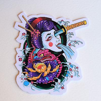 japan geisha girl sick hentai vintage anime 8x3cm decal