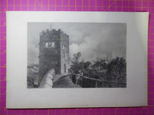 Antique-engraving-of-CHESTER-Castle-Cathedral-Rare-art-etching-print