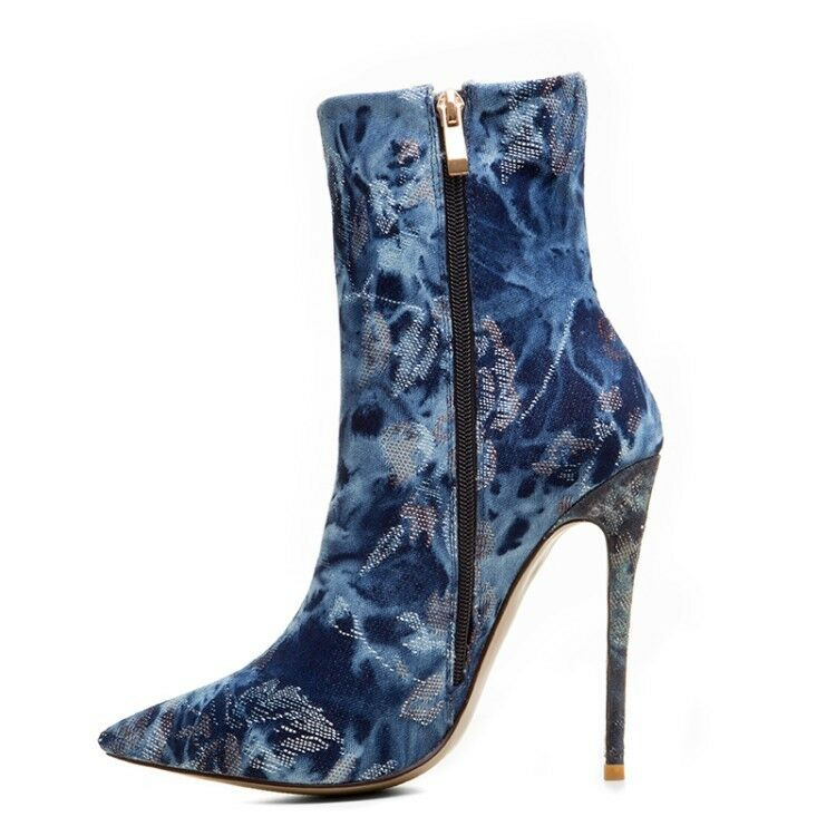Women Lady Pointed Toe Denim Ankle Boots High Heels Stilettos Stilettos Stilettos Fashion shoes New 2c6eb9
