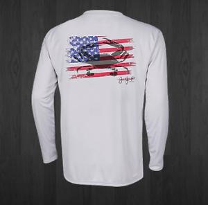 Men's White Performance American Crab  Fishing Shirts