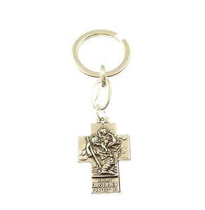 metal-argent-croix-St-Christopher-Porte-cle-chretien-cadeau-cle-anneau