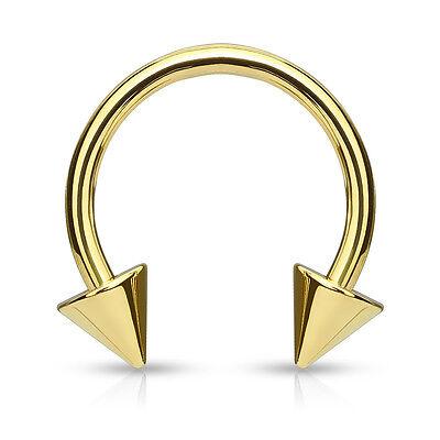 Eyebrow Nipple Ring 1pc Titanium Spiked Circular Barbell Horseshoe Septum