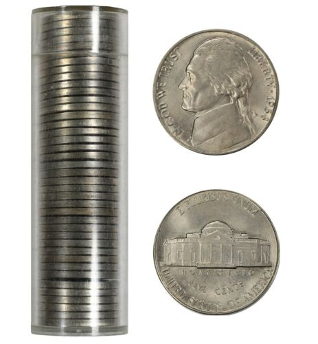 BU ABOUT TO BRILLIANT UNCIRC FULL ROLL 40 COINS 1938 JEFFERSON NICKEL 5C AU