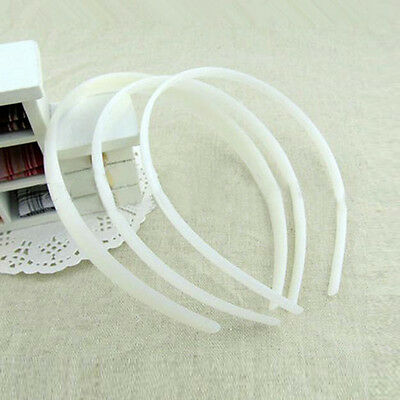 12Pcs White Color Plastic Headband Covered Satin Hair Band 10mm For DIY Craft