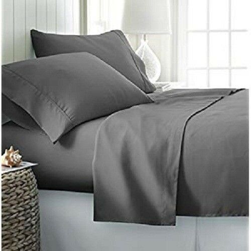 US All Size Bedding Items 100% Egyptian Cotton 1000 Thread Dark Grey Solid