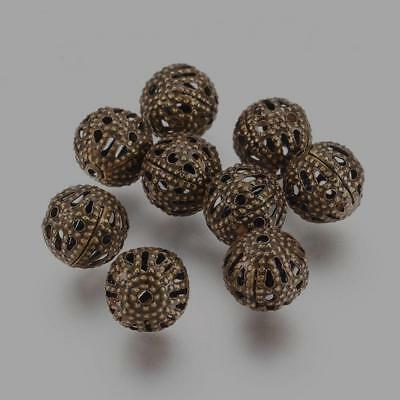 LOT de 65 PERLES RONDES filigranes ajourées 6mm ARGENTE création bijoux