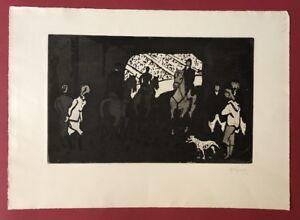 Hermann Teuber, nella pista numero, acquaforte, 1962, a mano firmata e datata