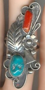 Free-form-Turquoise-and-Coral-Cabochons-in-Signed-Sterling-Silver-Size-6-Ring