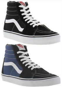 d122af856c Vans SK8 Hi Tops Black Blue Canvas Mens Womens High Top Trainers ...