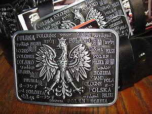 Polnischer Adler Koppel UNISEX echt Rind-Leder Gürtel 4cm Jeans braun schwarz
