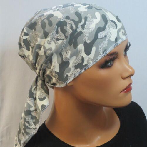 KOPFTUCH grau Camouflage  CHEMOTUCH  ALOPEZIE TURBAN Chemo Mütze Chemotuch