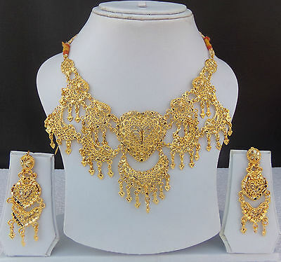 Indian Bollywood Ethnic Bridal Jewelry 22k Gold Plated Necklace Earrings Set