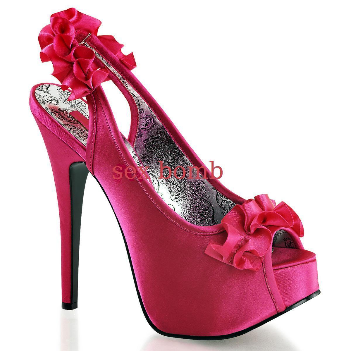 SEXY shoes decolte SPUNTATE plateau invisibile tacco 14,5 dal 36 al 42 FUCHSIA