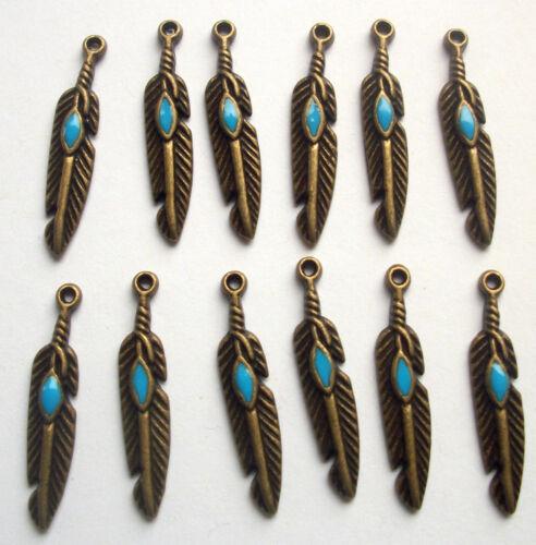 12 Dijes Turquesa Esmalte nativo de plumas de metal tono bronce 27mms