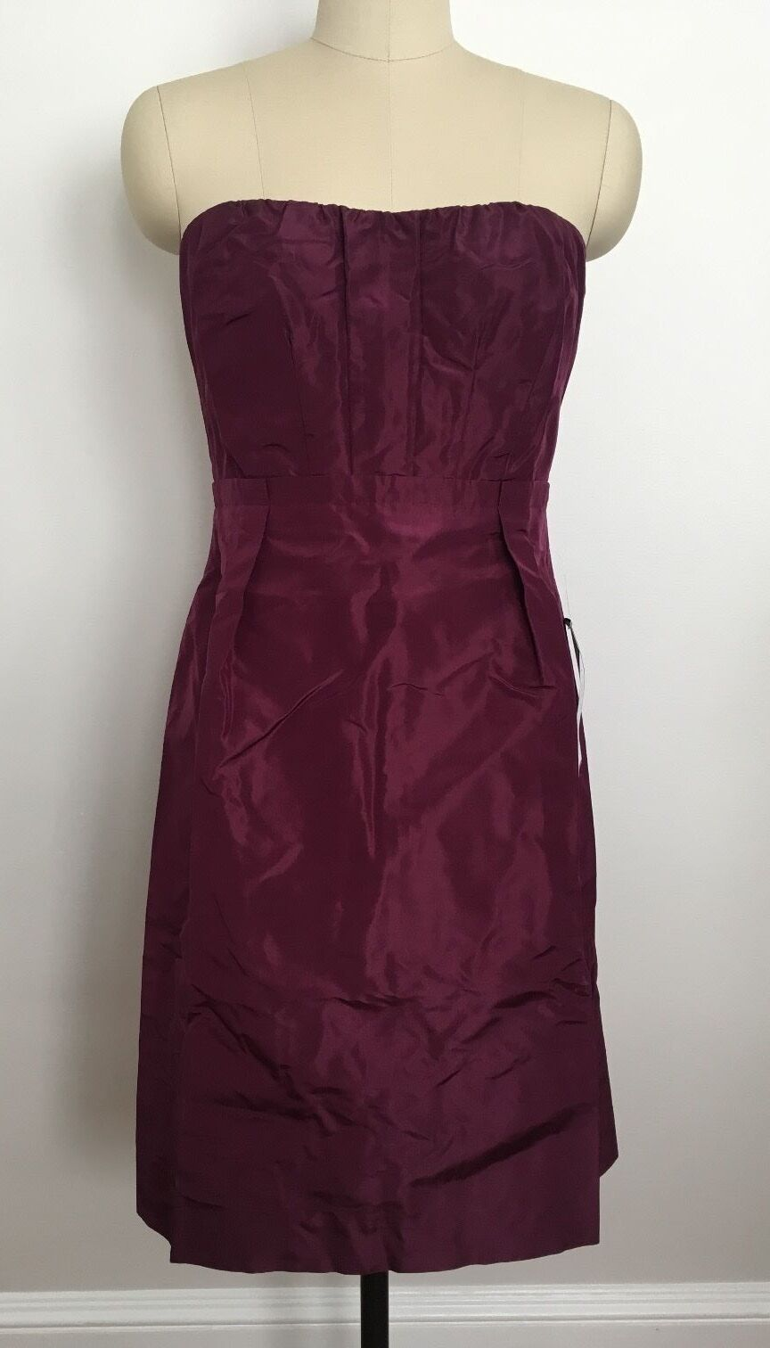 NWT J.Crew Silk Taffeta Gracen Bridesmaid Dress Spied Wine Storlek 10 Petite 10P