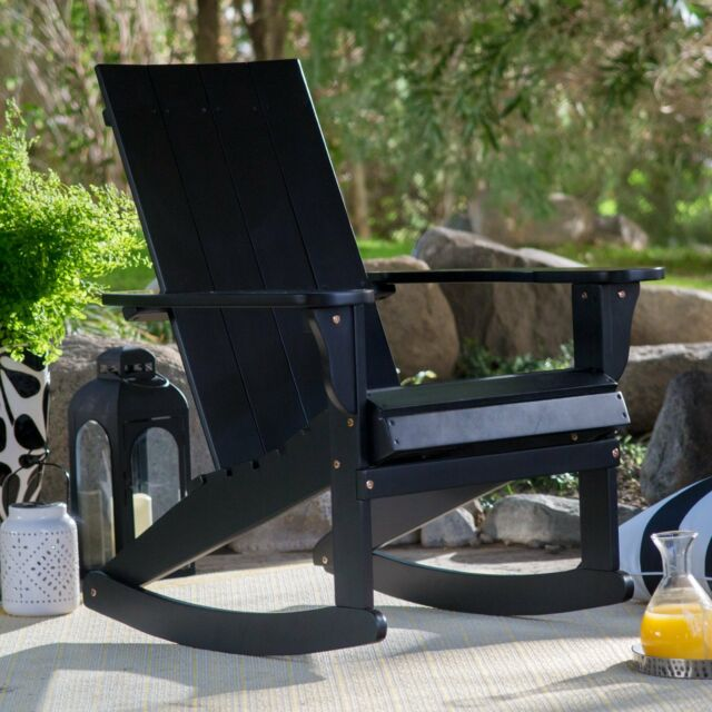Excellent Bayside Cottage Black Adirondack Style Rocking Chair Outdoor Patio Porch Rocker Onthecornerstone Fun Painted Chair Ideas Images Onthecornerstoneorg