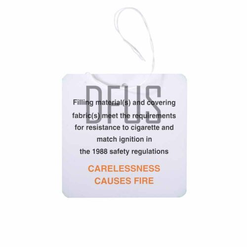 tickets Upholstery DL7 hanging labels Fire safety labels 100x Furniture