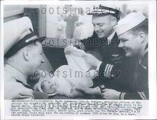 1956 Diaper Drill on Train For US Navy Sailors Bremerton WA Press Photo