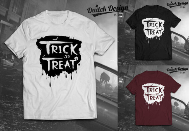 Trick or Treat T-Shirt Halloween Scary Horror Zombie Monster Bat Weird Funny TOP