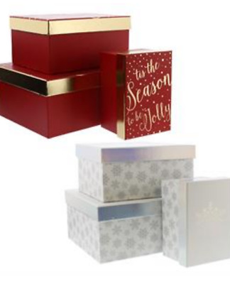 Red silver foiled lid chritsmas gift present boxes box 3 sizes snowflake hard
