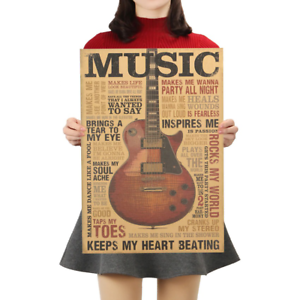 Music Guitar A Style Poster Classic Nostalgic Vintage Kraft Paper Poster Bedroom
