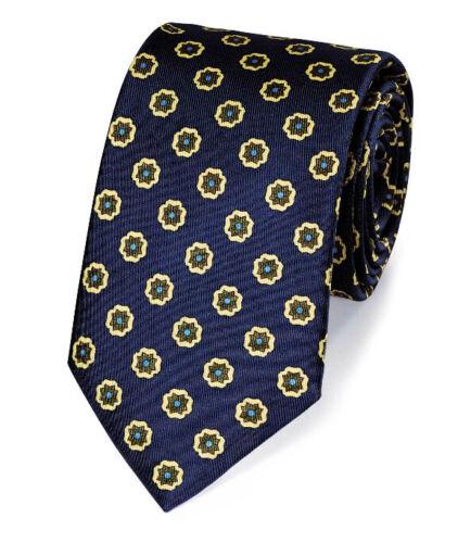 Charles Tyrwhitt Elegante Seidenkrawatte in Marineblau und Gold mit Print