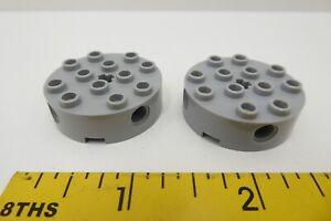 Lego 2 x Stone Round Rim 6222 4x4 side axle hole NEW Dark Grey