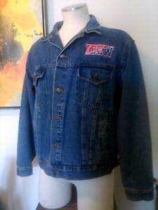 Vintage Ibew Embroidered Denim Jean Jacket Coat Mens M Excellent