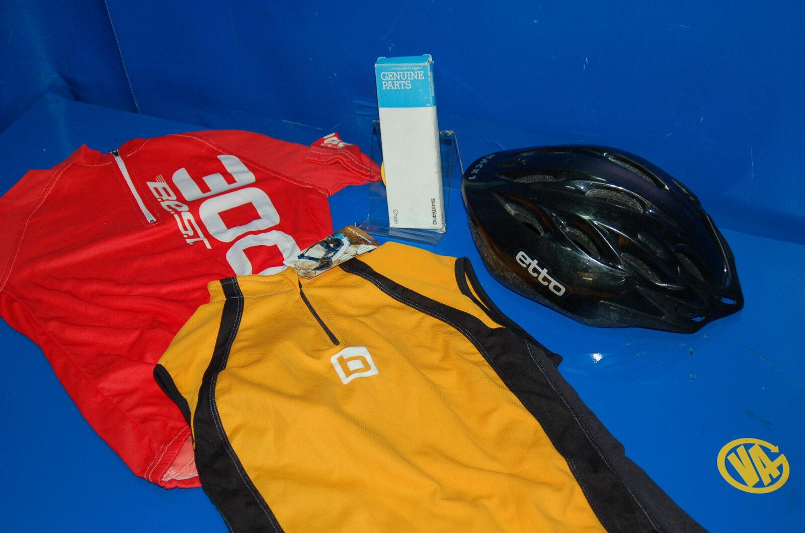 Lote ciclista buen estado estado estado 2 maillots + una cadena Shimano nueva + un casco   riduzione del prezzo    A Prezzi Convenienti  76ab65