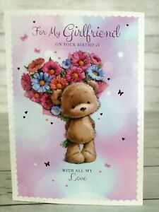 For My Girlfriend On Your Birthday With All My Love, Card Cute Bear & Flowers