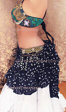 Black Jaipur Wrap or Bustle Skirt Gypsy Tribal Fusion Belly Dancel ATS
