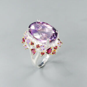Amethyst Ring 925 Sterling Silver Size 8.5 /RT20-0186